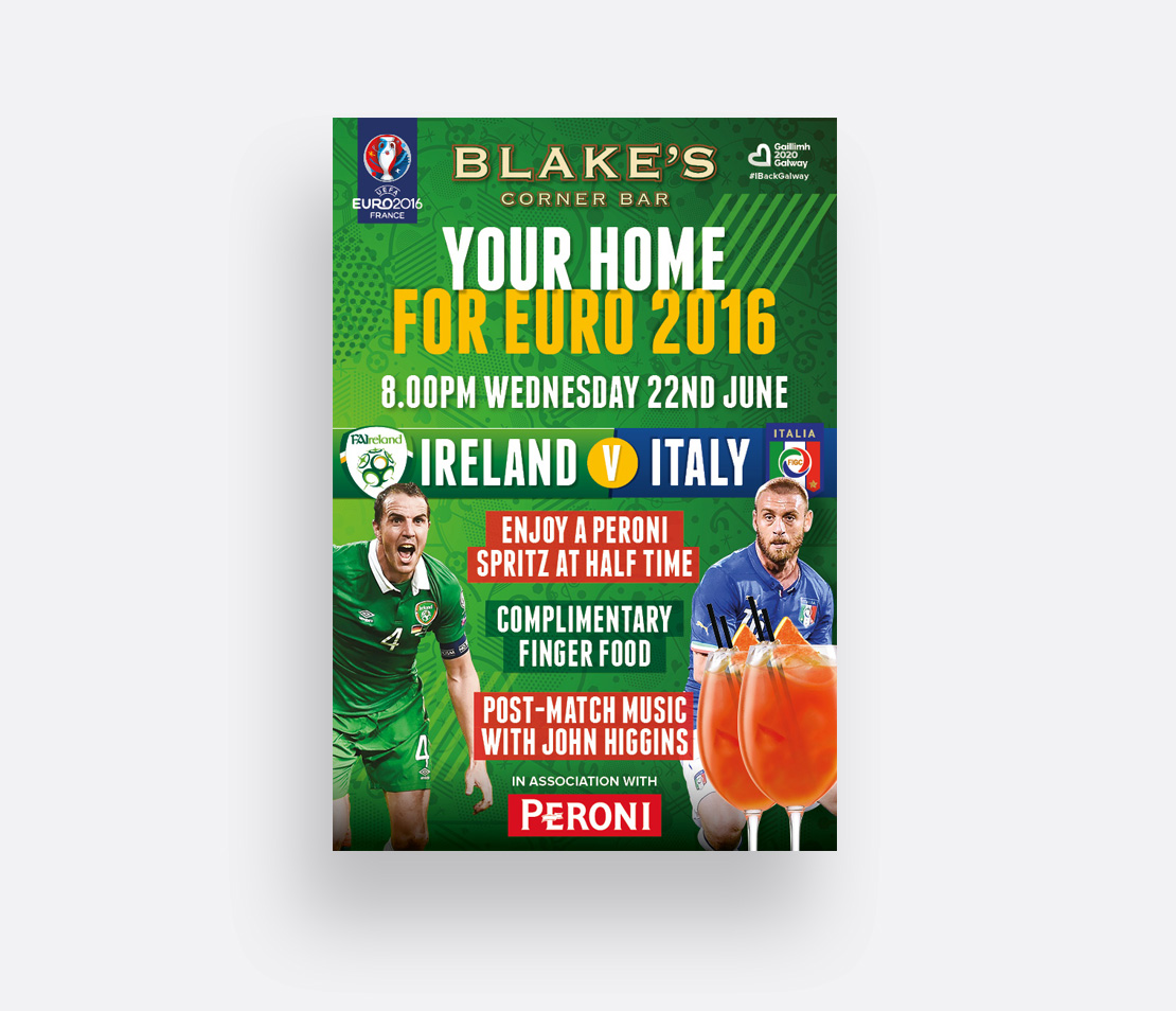 Blake's Corner Bar Euro 2016 Peroni drinks promotion A2 poster