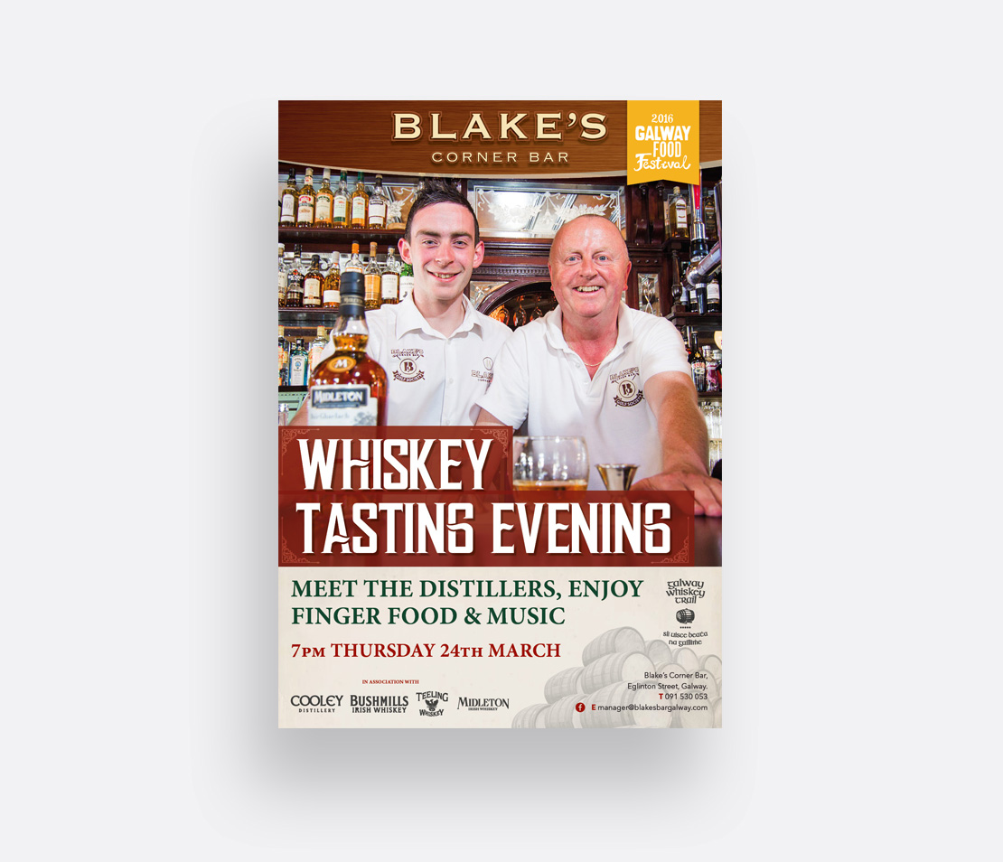 Blake's Corner Bar 'Meet the Distillers' Whiskey Tasting Evening promotional A2 poster