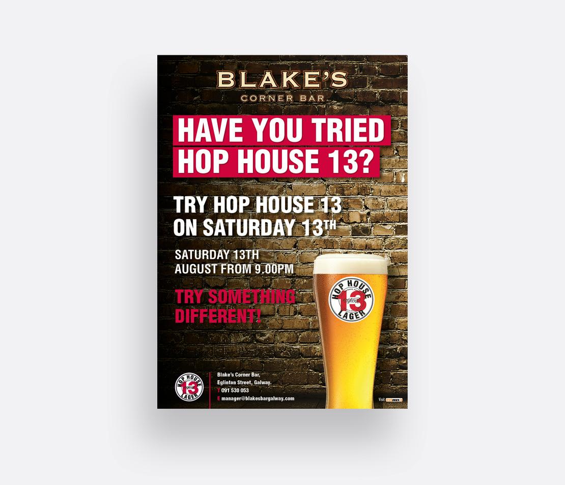 Blake's Corner Bar Hop House 13 promotion A2 poster