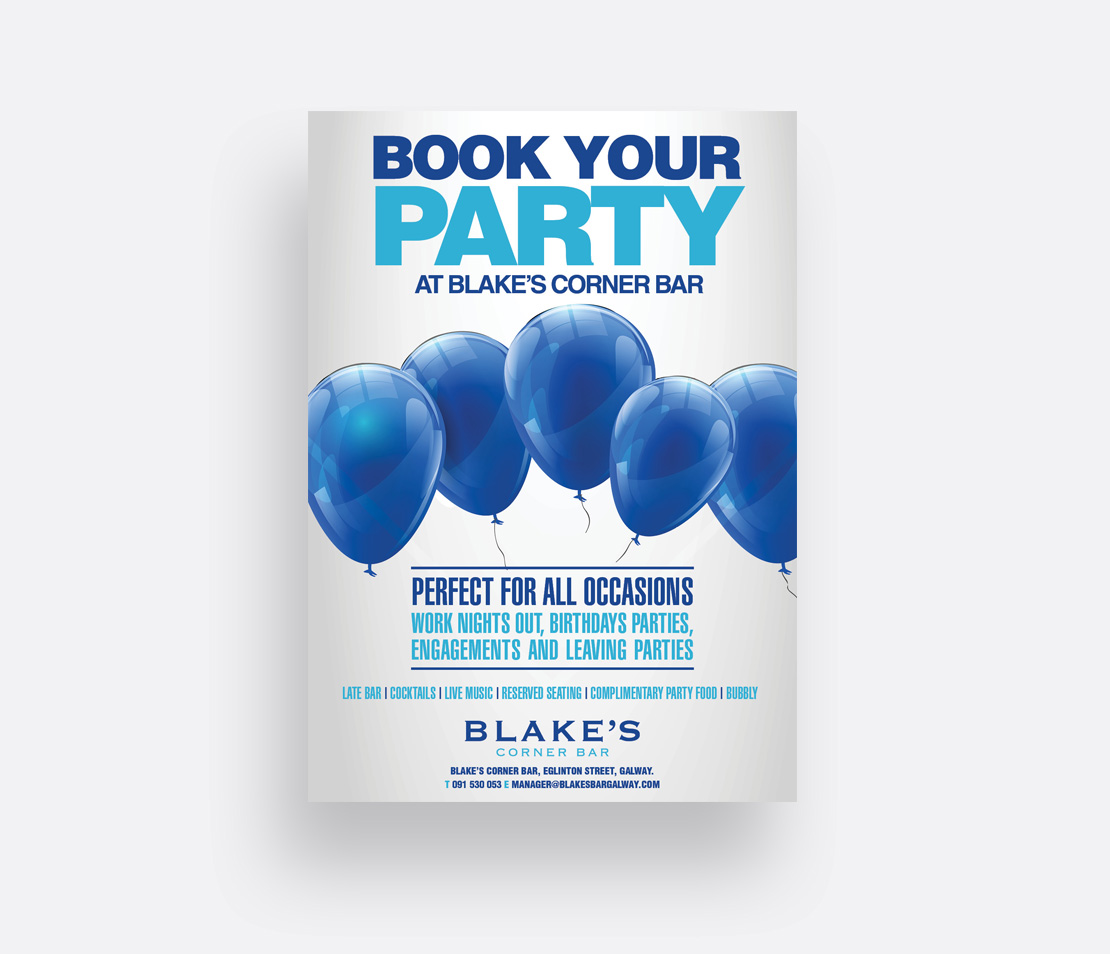 Blake's Bar 'Book Your Party' A2 promotional poster