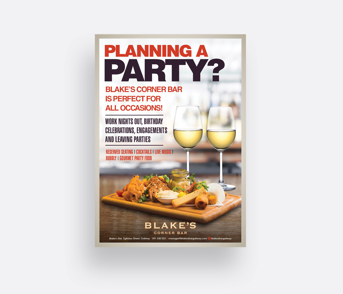 Blake's Bar 'Planning a Party?' A2 promotional poster