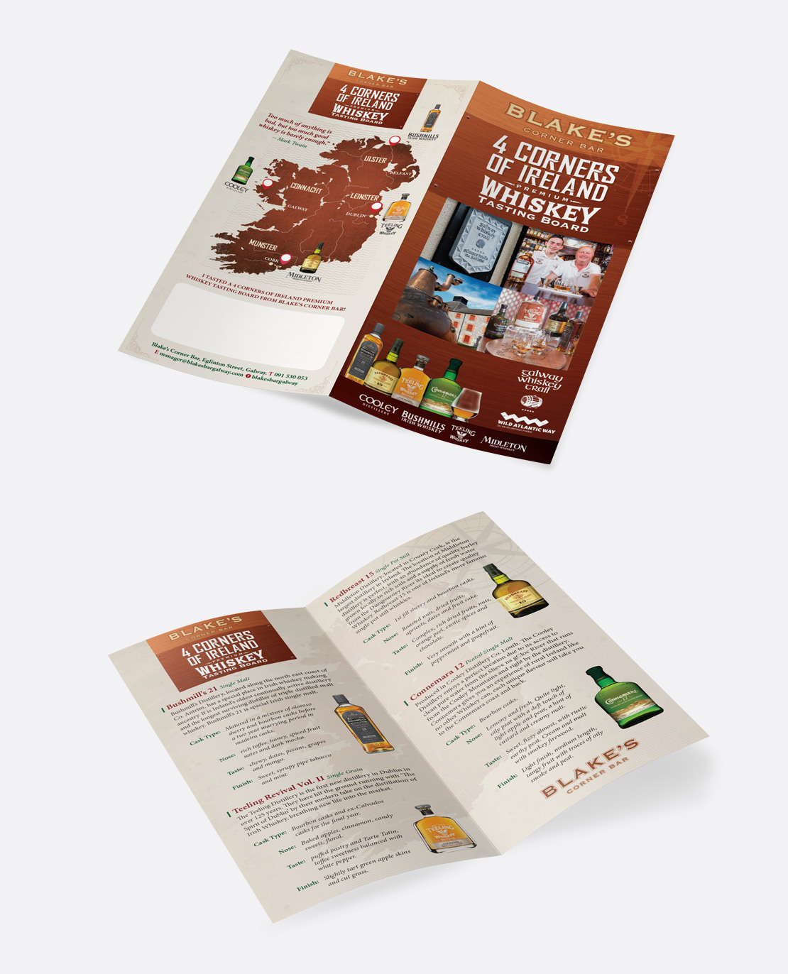 Blake's Corner Bar '4 Corners of Ireland' Whiskey Tasting Board 4-page DL brochure