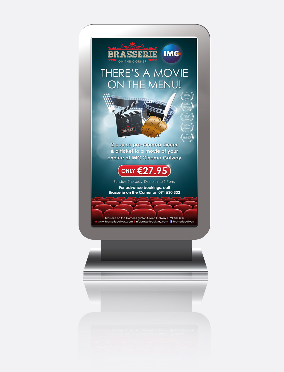 Brasserie on the Corner 'Movie on the Menu' promotion for digital screen