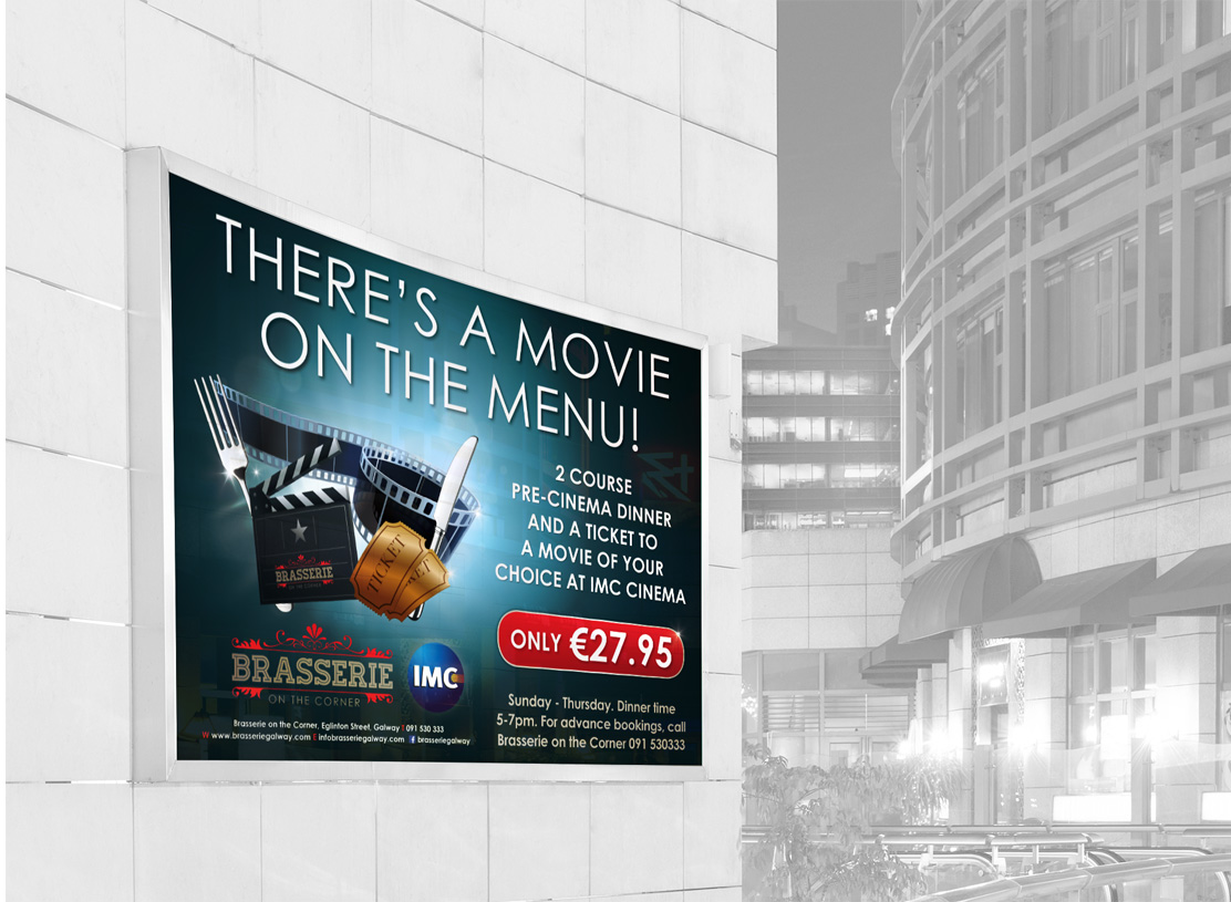 Brasserie on the Corner 'Movie on the Menu' cinema wall poster