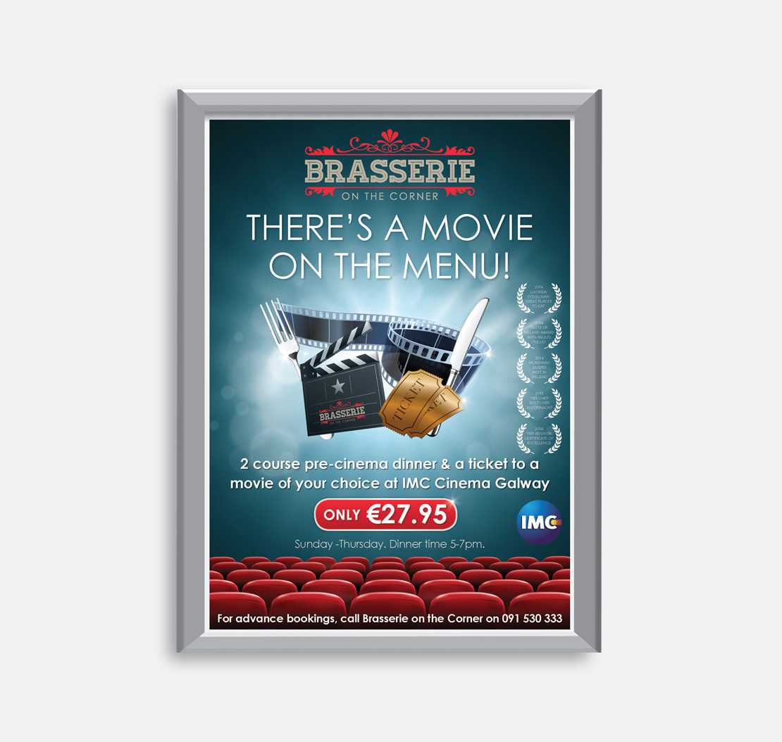 Brasserie on the Corner 'Movie on the Menu' promotional A2 poster in conjunction with IMC Cinema