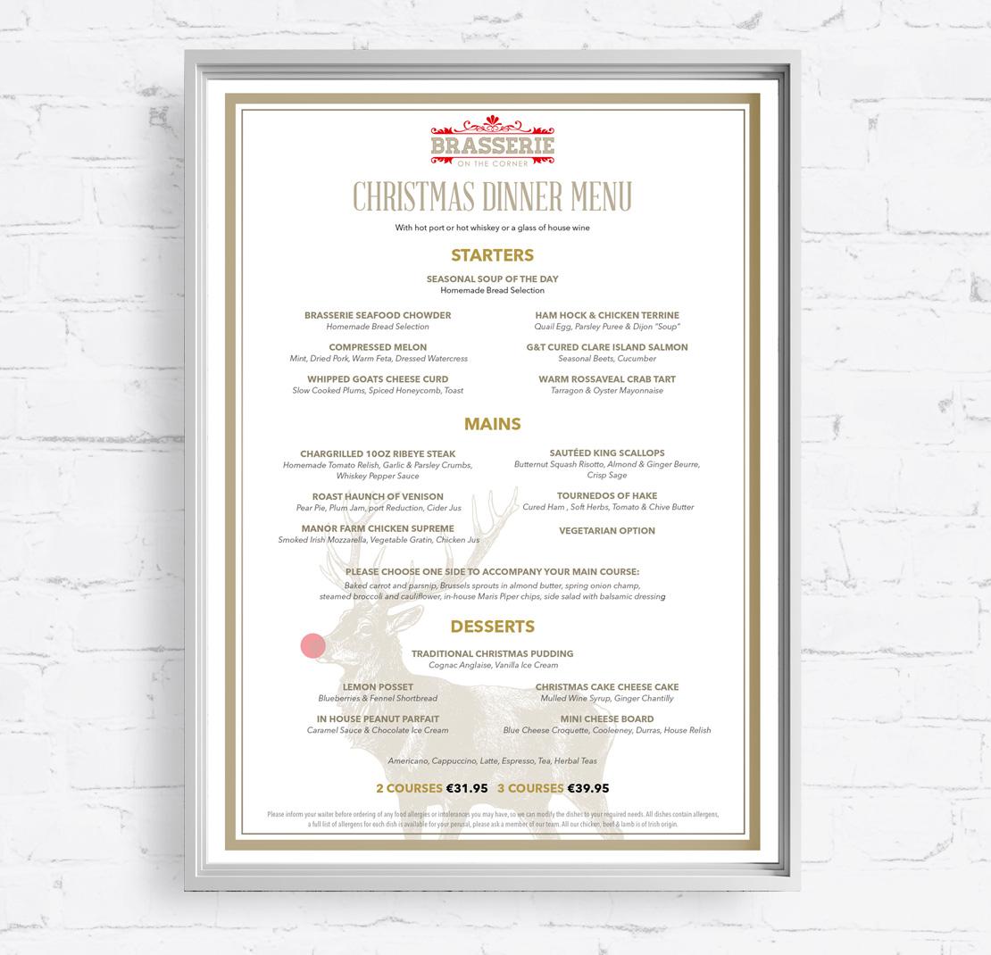 Brasserie on the Corner Christmas Dinner wall menu