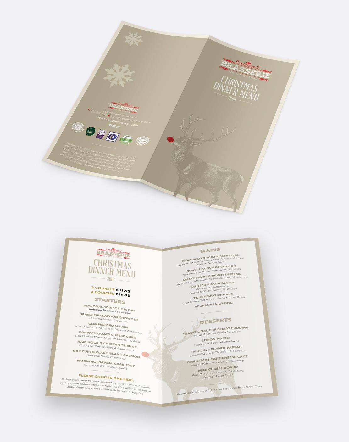Brasserie on the Corner Christmas Dinner DL sized menus