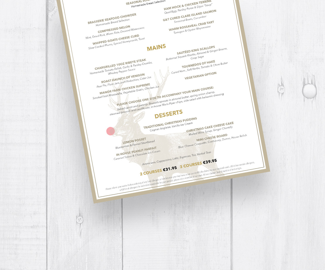 Brasserie on the Corner Christmas Dinner A4 table menus