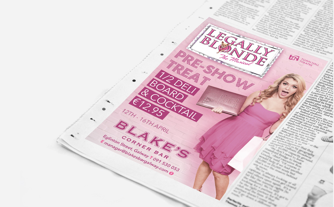 Blake's Bar Town Hall Theatre Promotional newspaper ad