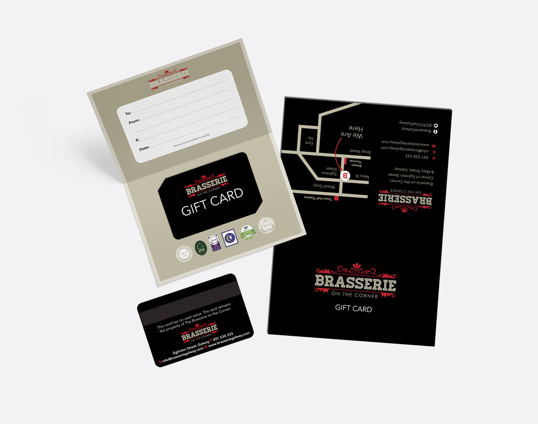Brasserie on the Corner gift card and wallet design
