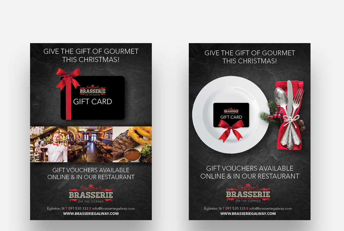 Brasserie on the Corner newspaper and magazine ads promoting their gift cards