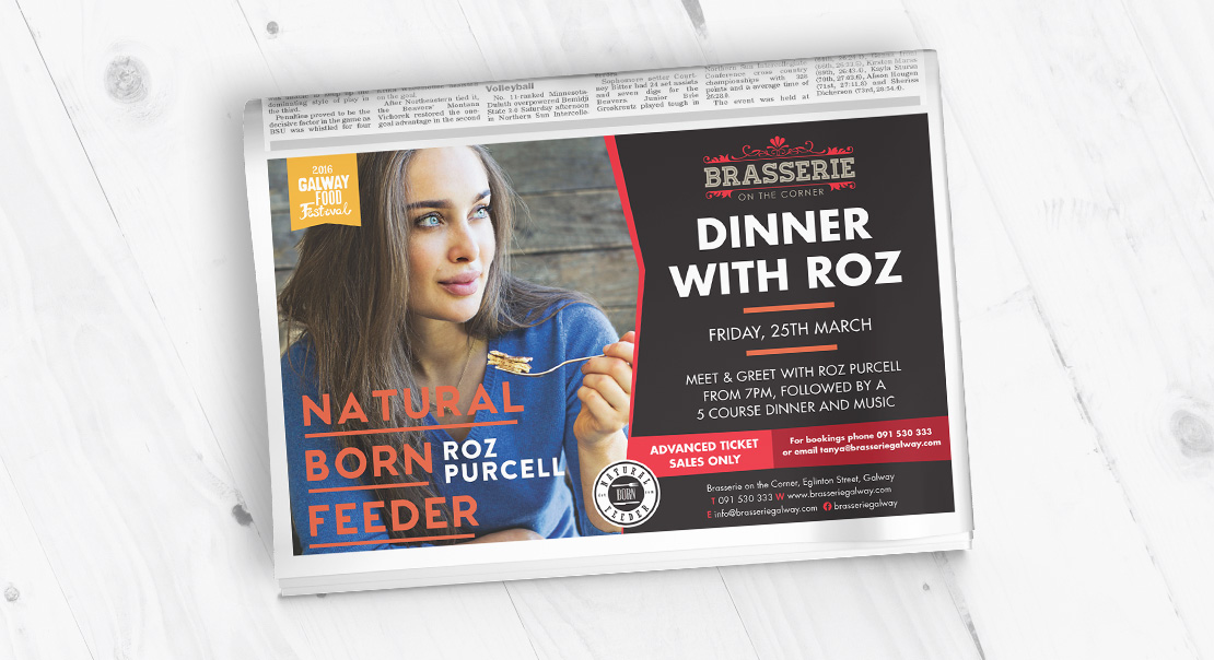 Brasserie on the Corner 'Roz Purcell's 'Natural Born Feeder' newspaper ad