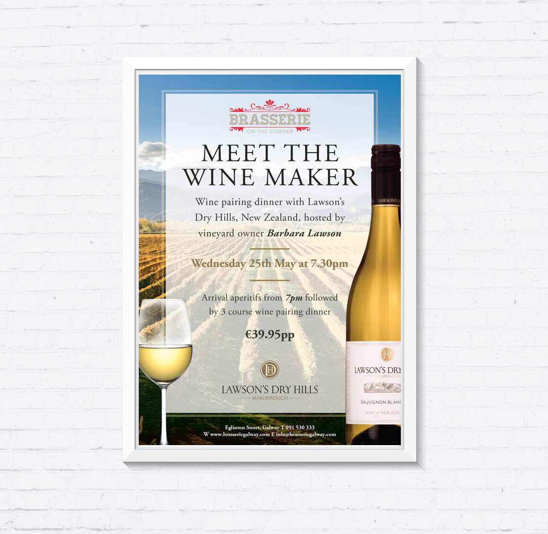 Brasserie on the Corner Lawson's Vineyard 'Meet the Winemaker' promotional A2 poster