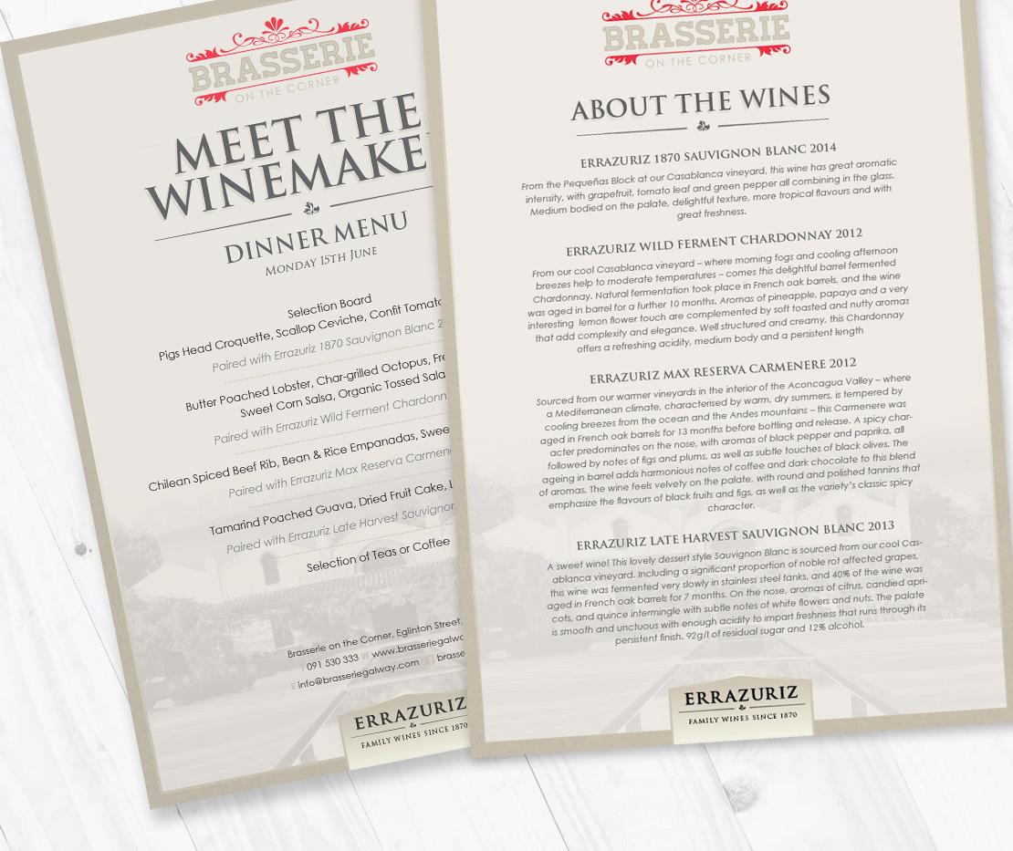 Brasserie on the Corner Errazuriz Vineyard 'Meet the Winemaker' menu