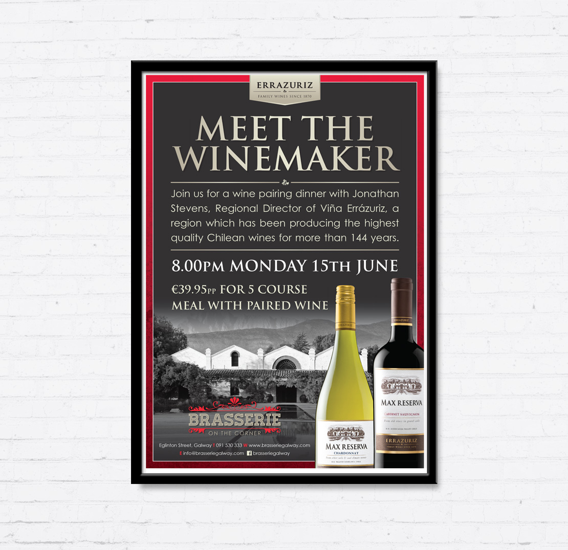Brasserie on the Corner Errazuriz Vineyard 'Meet the Winemaker' promotional A2 poster