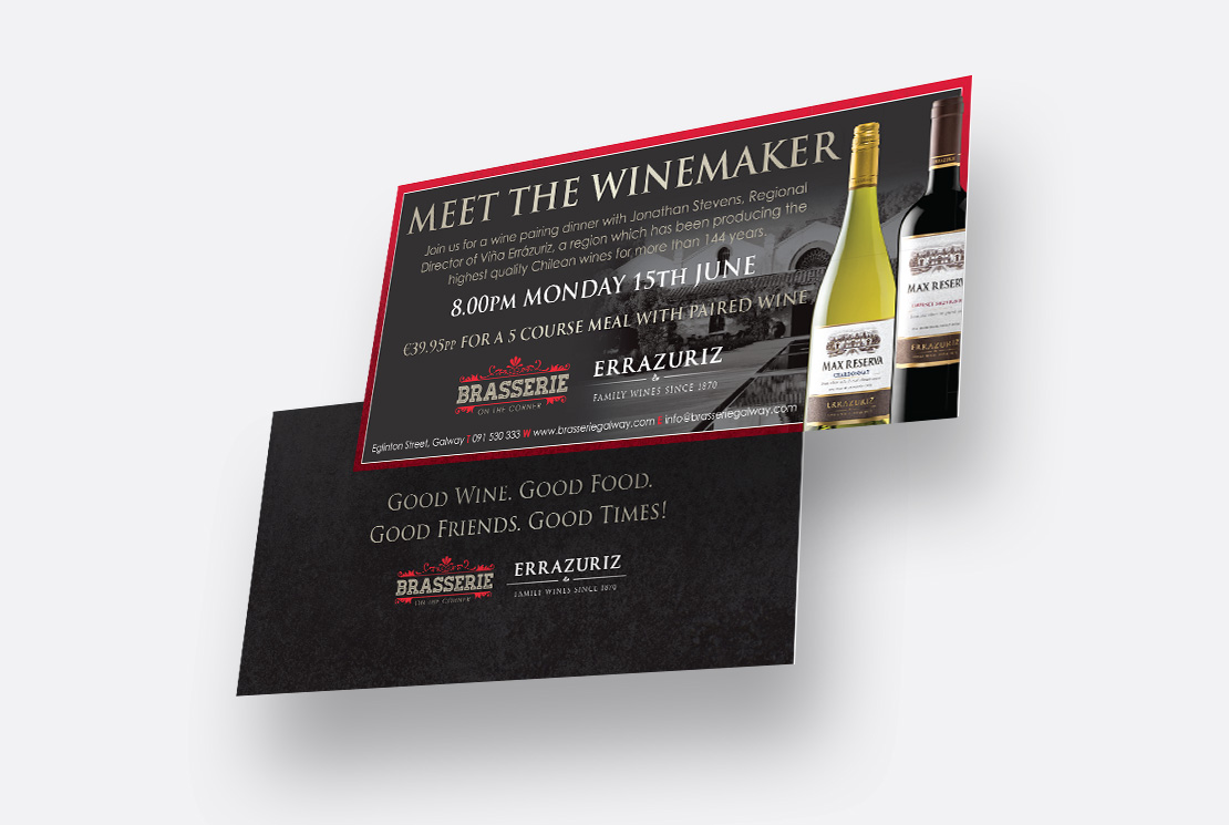 Brasserie on the Corner Errazuriz Vineyard 'Meet the Winemaker' invite