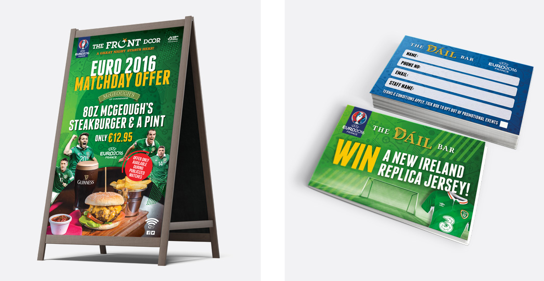 Euro 2016 food promotion A-Board and business card size competition entry forms