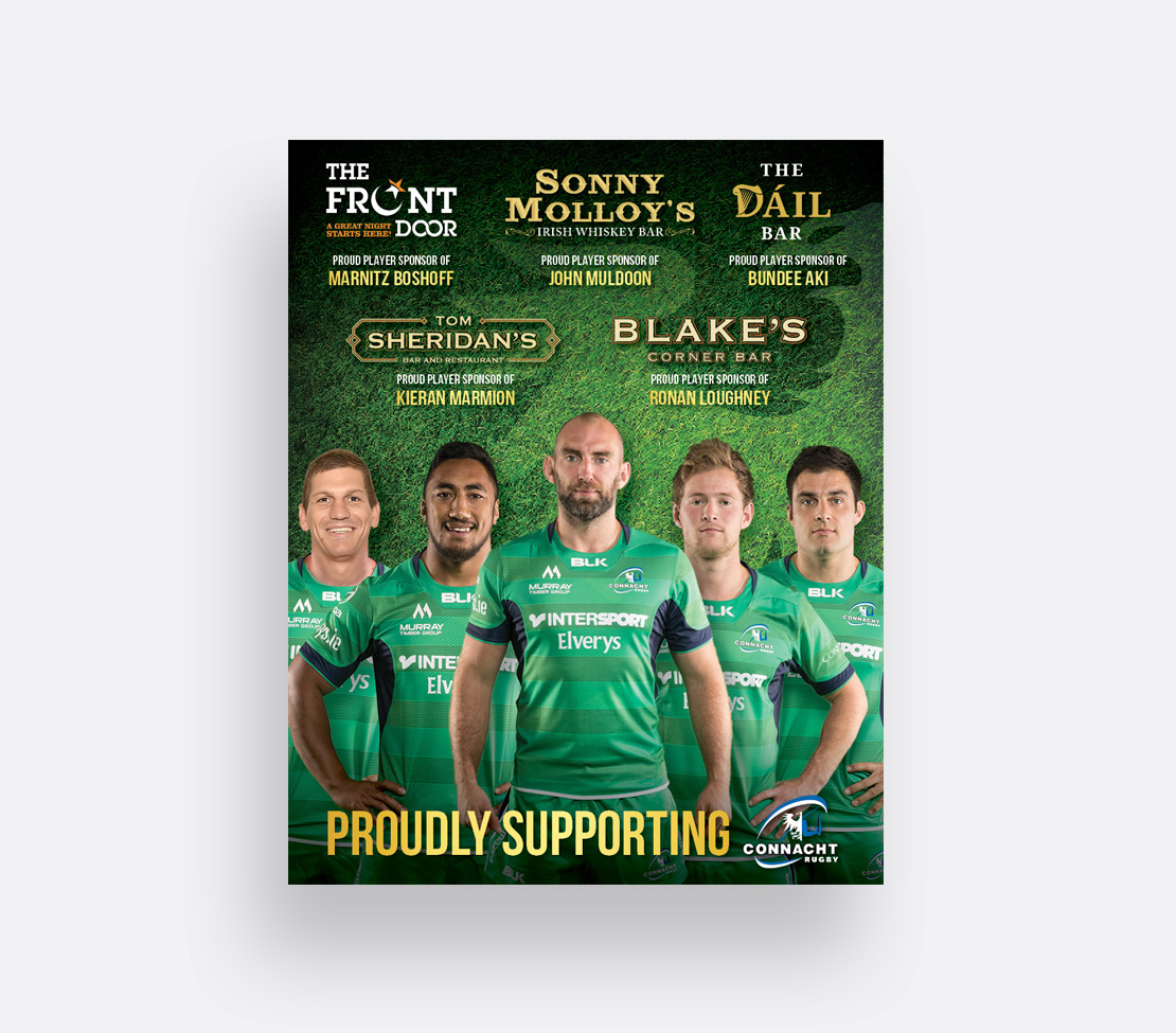 Connacht Rugby newspaper support ad