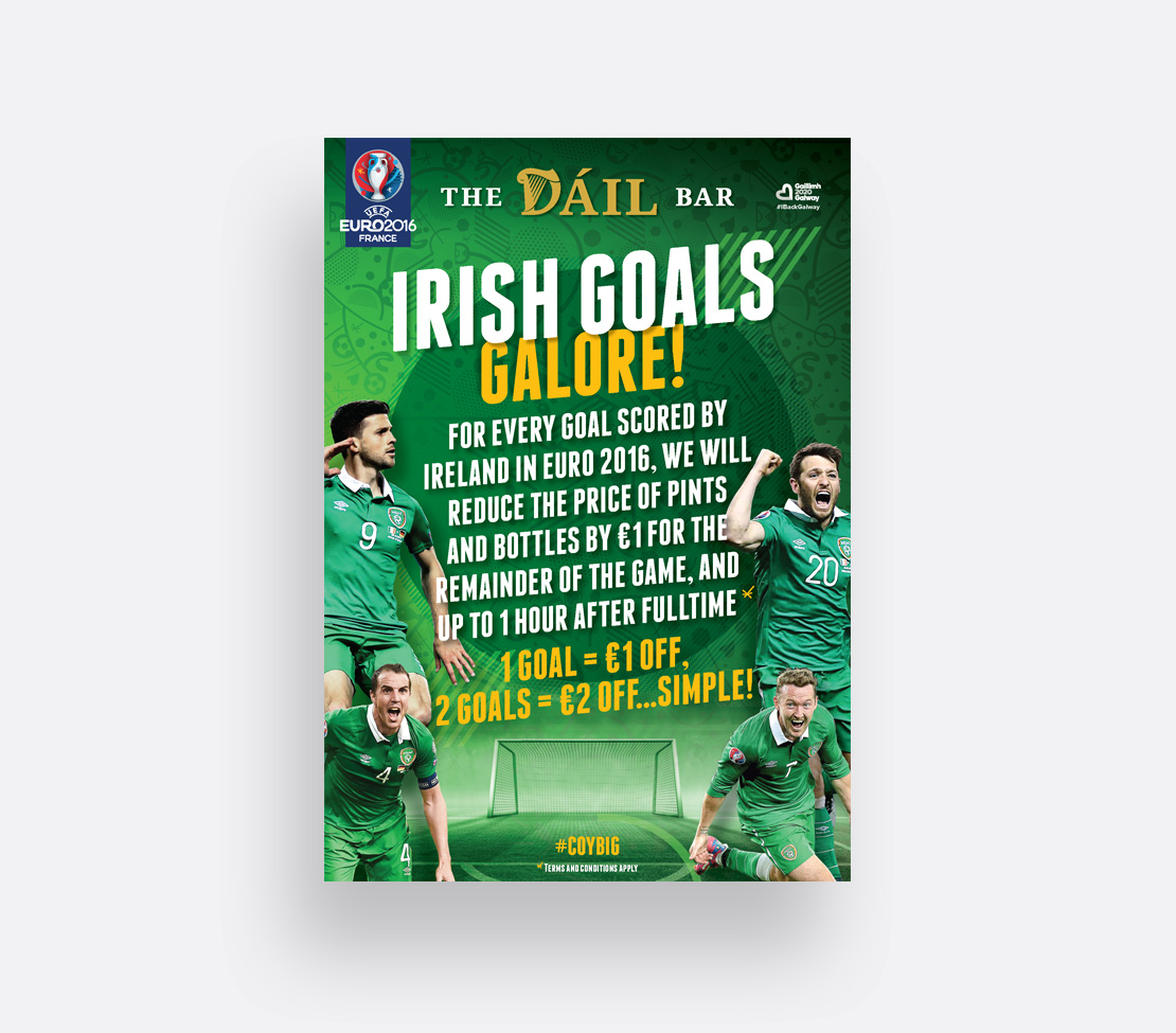 The Dáil Bar Euro 2016 'Goals' promotional A2 poster