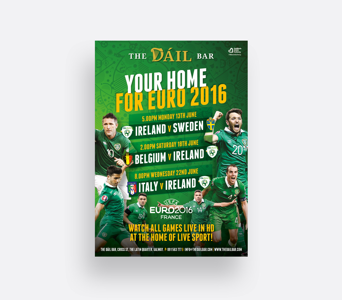 The Dáil Bar Euro 2016 Ireland game schedule poster