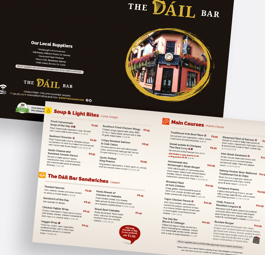 The Dáil Bar lunch menu