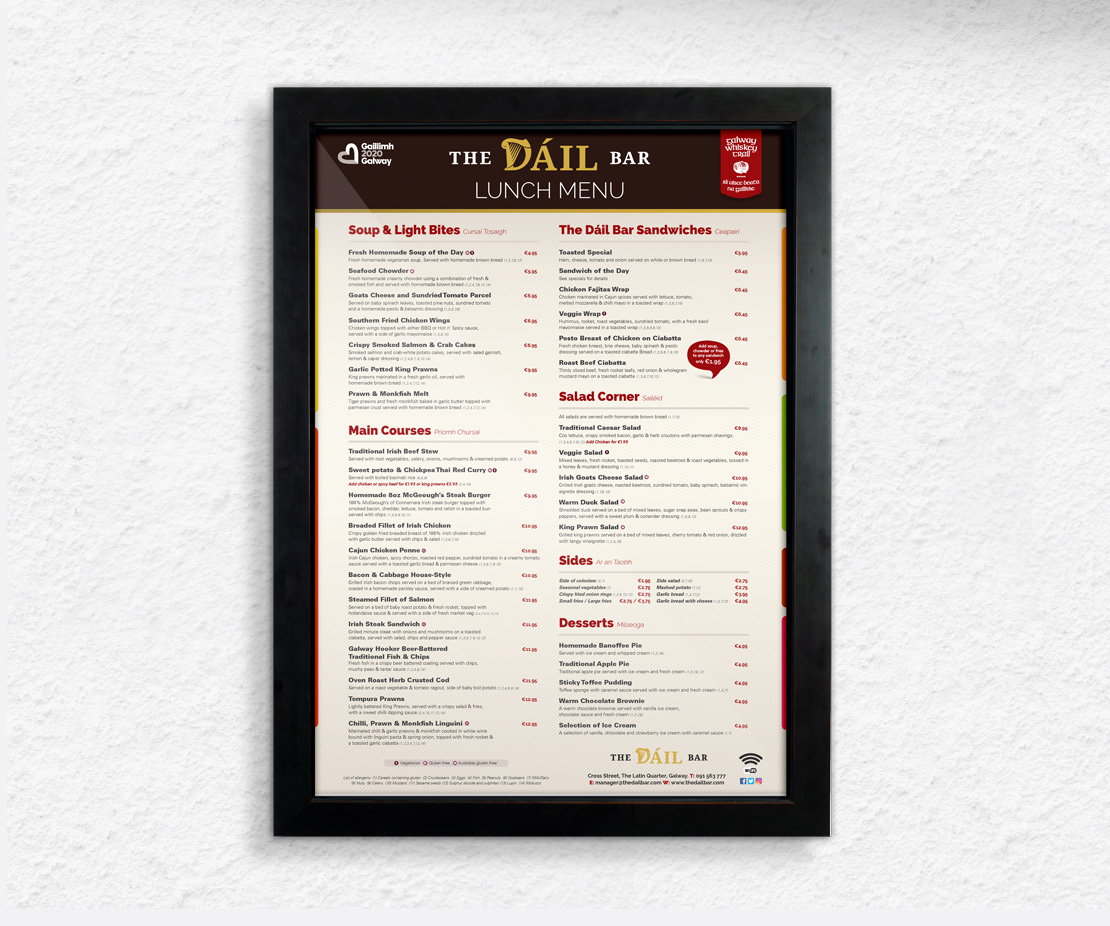 The Dáil Bar lunch menu external sign