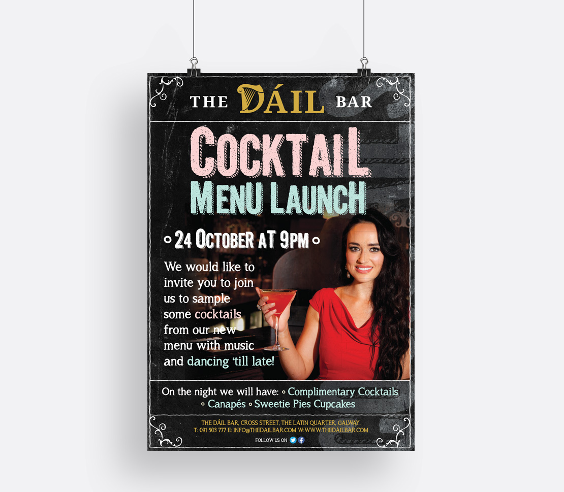 The Dáil Bar cocktail menu launch poster
