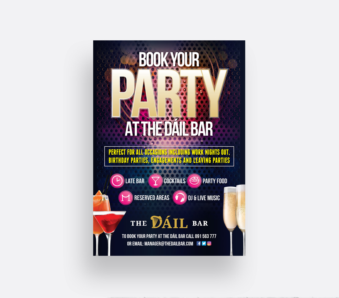 The Dáil Bar 'Book Your Party' promotional A2 poster