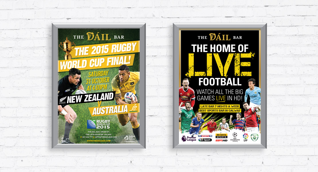 The Dáil Bar promotional A2 sports posters