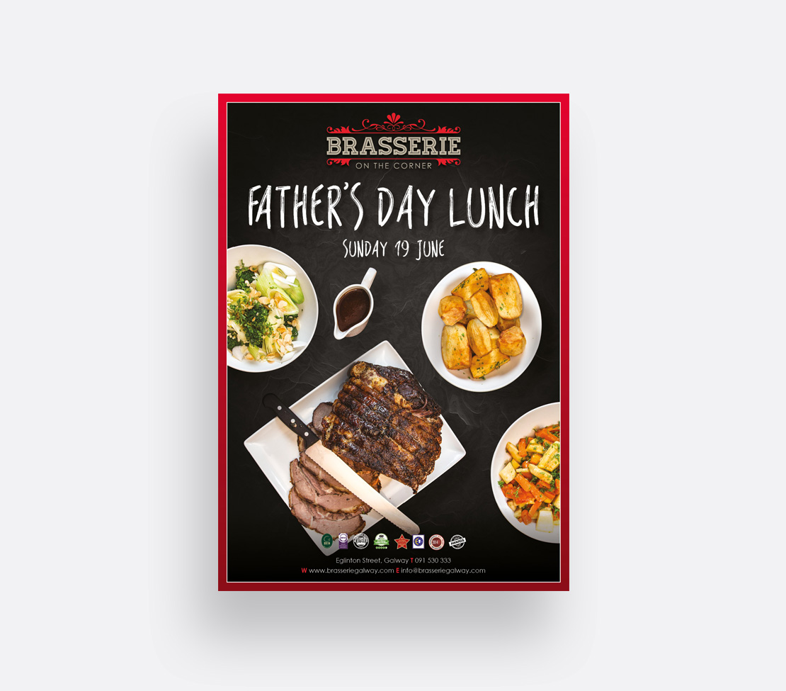 Brasserie on the Corner Father's day promotional A2 poster