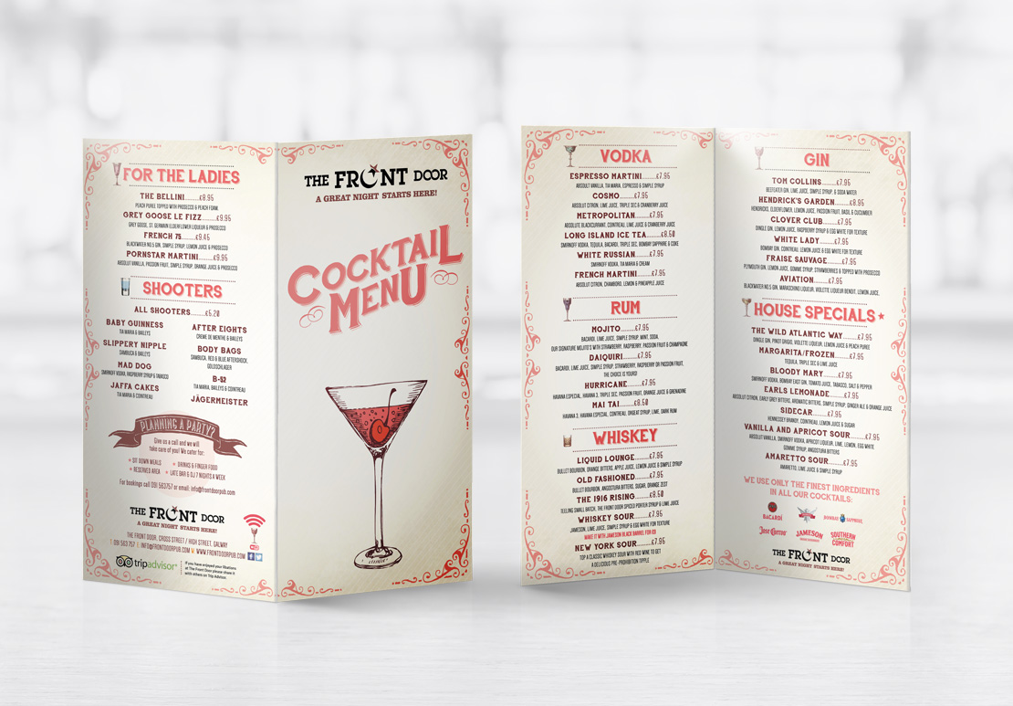 The Front Door cocktail menu design