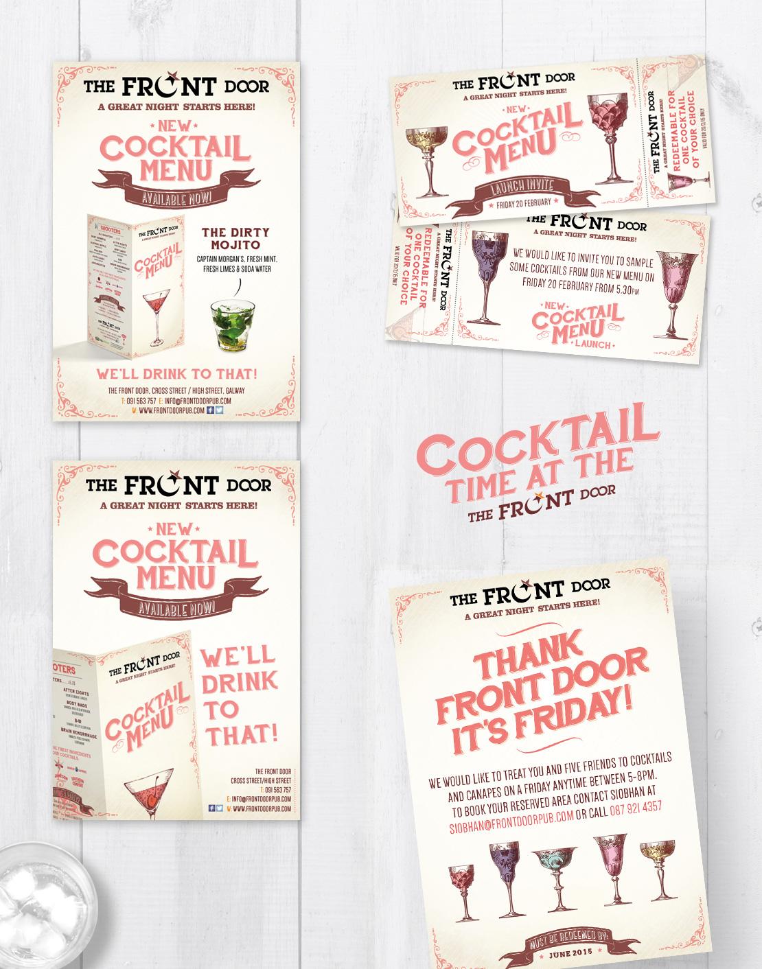 The Front Door cocktail menu launch designs