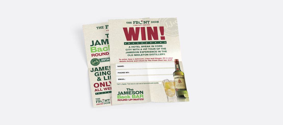 The Front Door Jameson Whiskey Special Event promotional A6 flyers