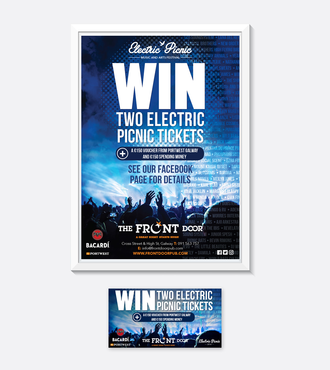 The Front Door Electric Picnic competition A2 poster and social media graphics