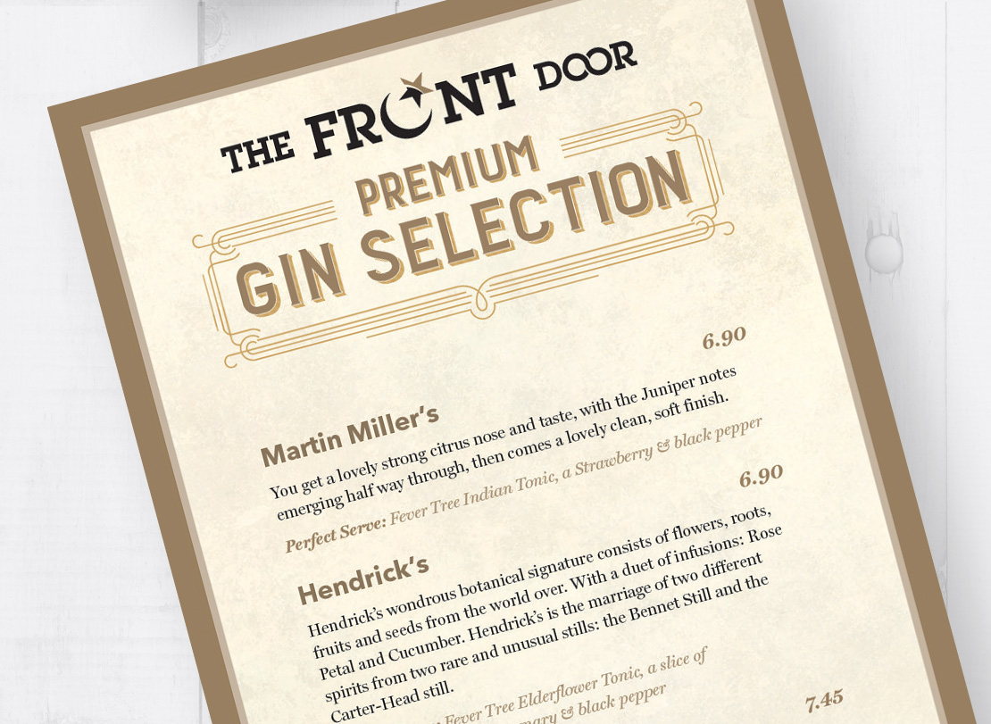 The Front Door Gin menu