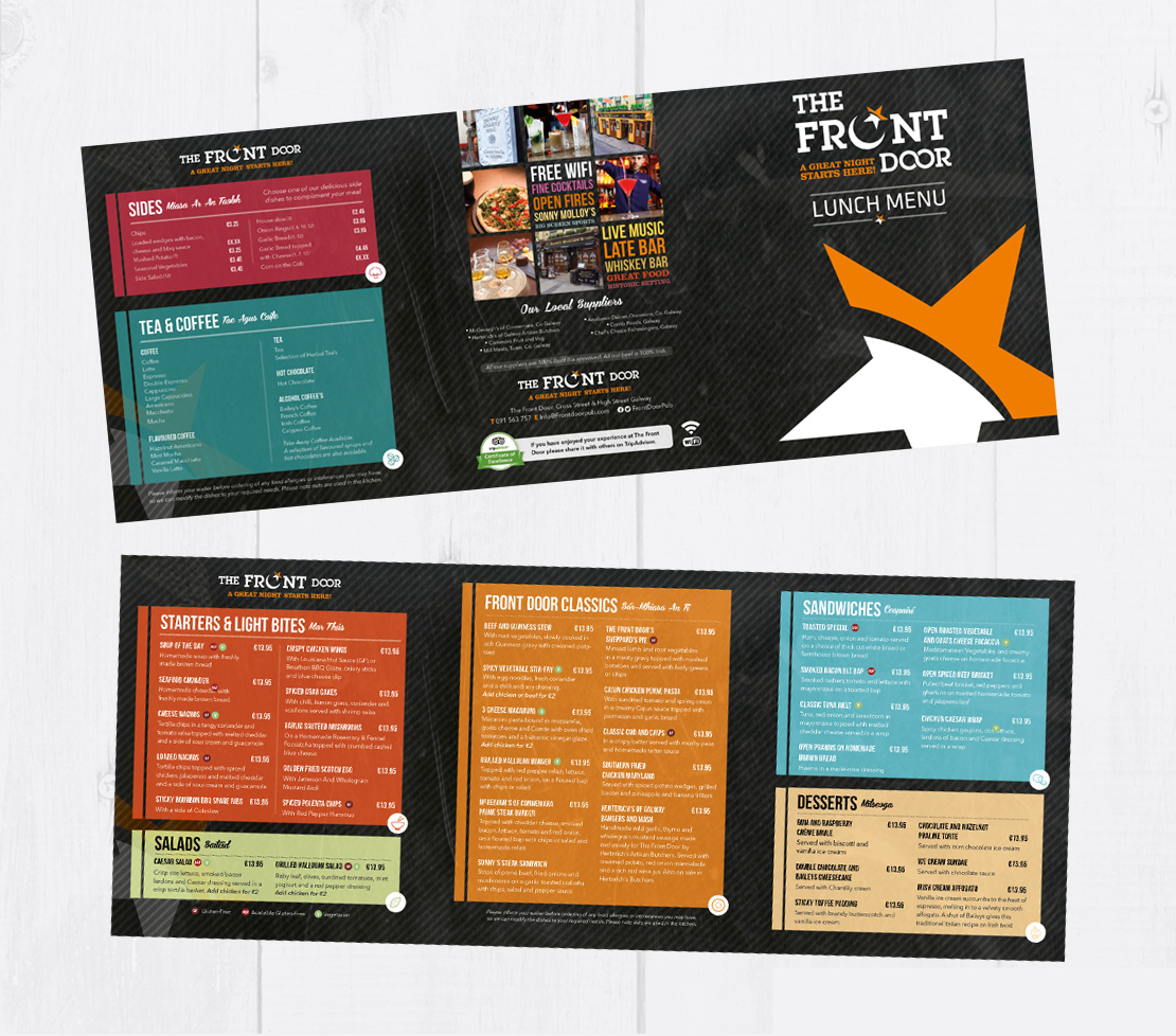 The Front Door lunch menu design