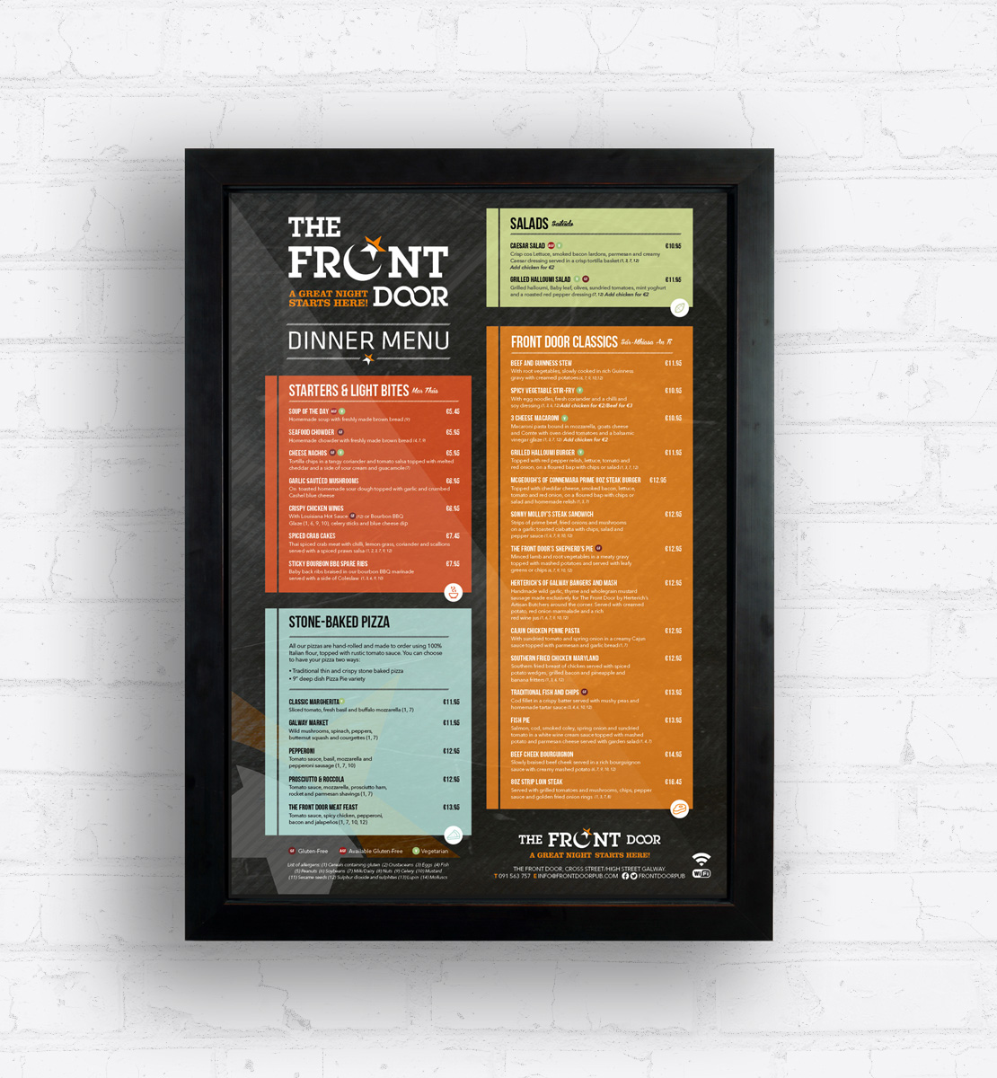 The Front Door lightbox dinner menu design