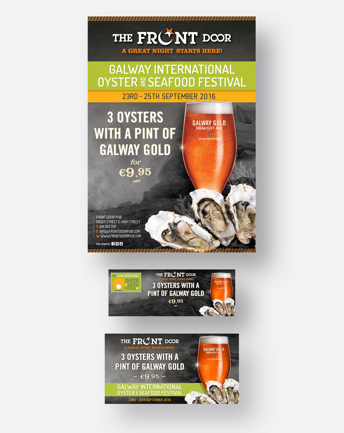 The Front Door Galway Oyster Festival promotional A2 poster and social media graphics