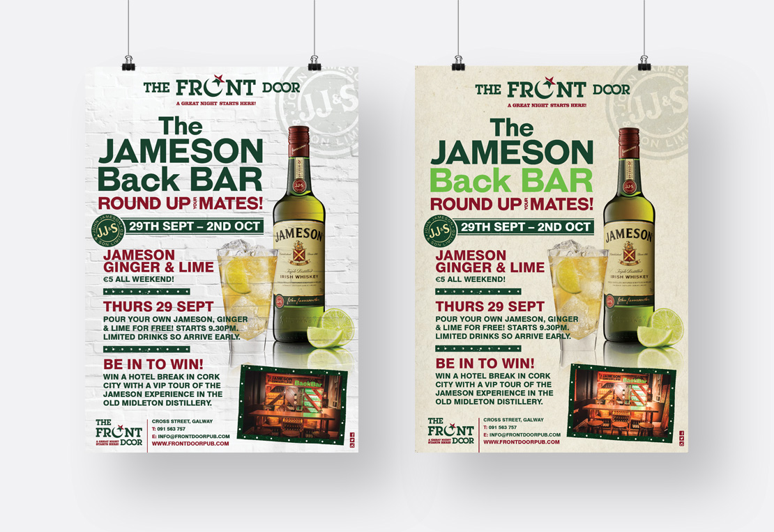 The Front Door Jameson Whiskey Special Event promotional A2 posters