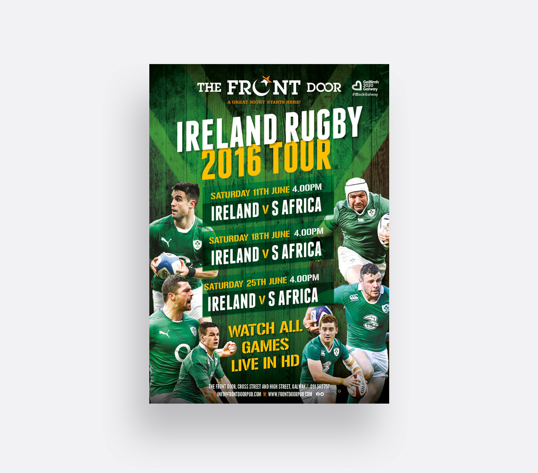 The Front Door Ireland Rugby South African Tour game schedule promotional A2 posters