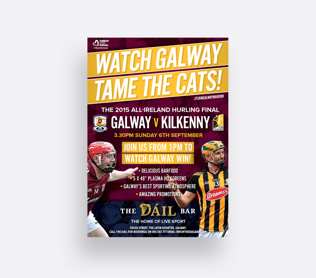 The Dáil Bar Galway v Kilkenny Hurling final A2 promotional poster