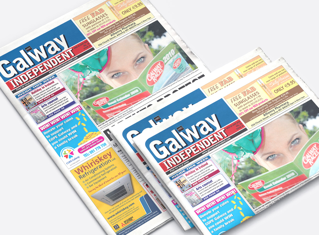 Galway Independent cover and page design examples
