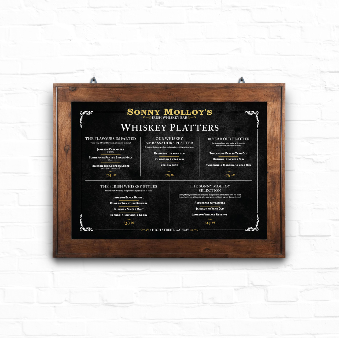 Sonny Molloy's whiskey platter menu design for bar wall