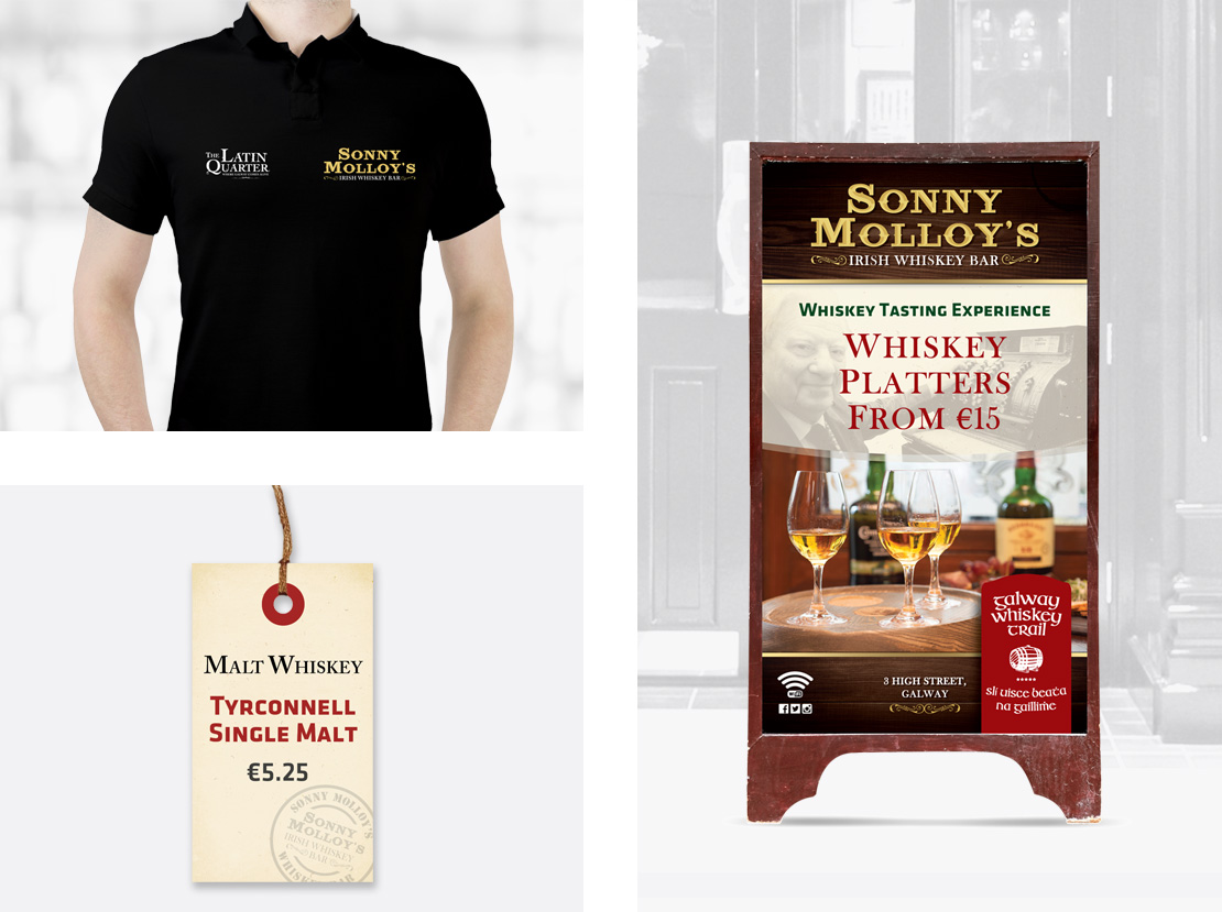 Sonny Molloy's staff t-shirt, whiskey bottle swing label and outdoor a-board