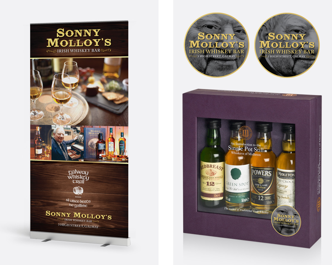Sonny Molloy's whiskey pull-up event poster (left) and sticker design for gift pack featuring the face of Sonny Molloy