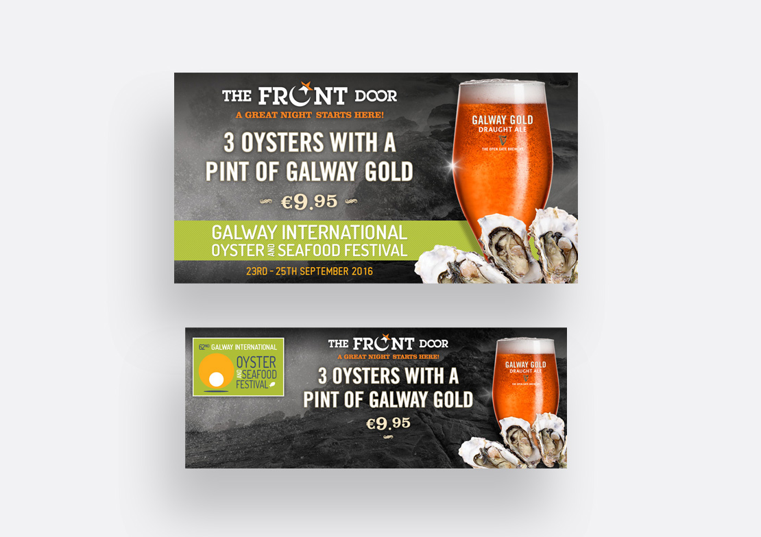 Promotional digital media posts for the 2016 Galway Oyster Festival