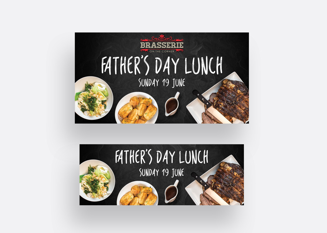 Promotional digital media posts for Father's Day at Brasserie on the Corner