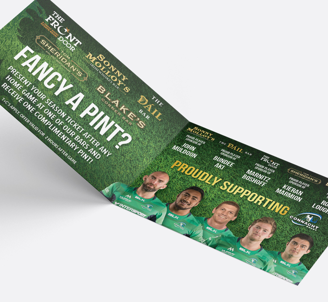 Connacht Rugby season ticket holder booklet support ad
