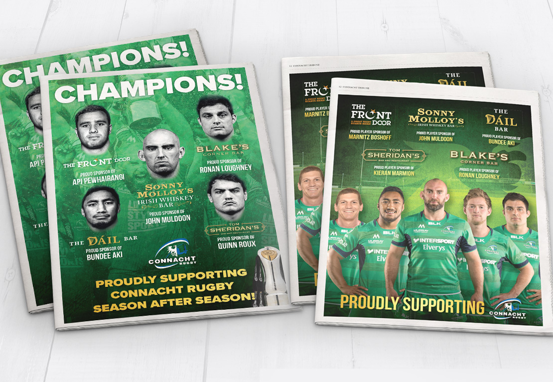 Connacht Rugby newspaper support ads