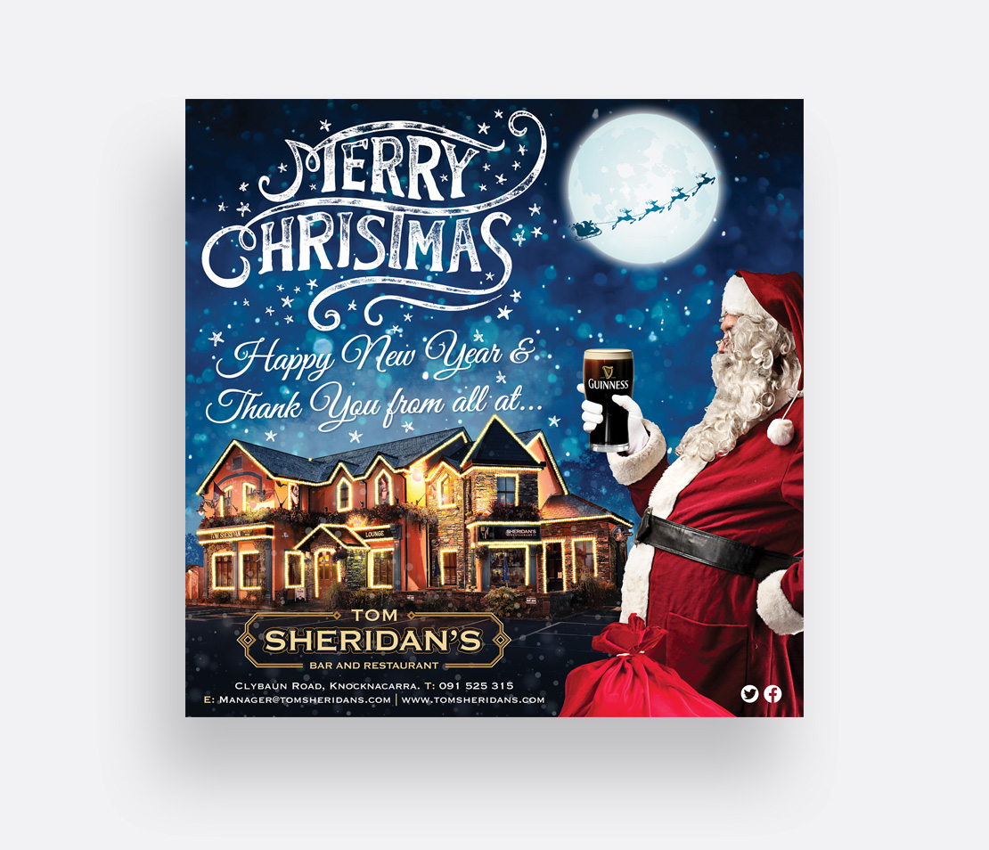 Tom Sheridan's Christmas 8' x 8' billboard design